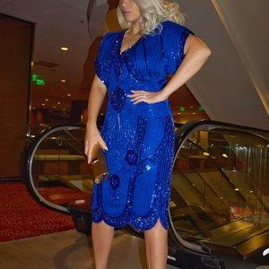 Vintage 100% Silk Sequin Cut Out Party Dress S/M